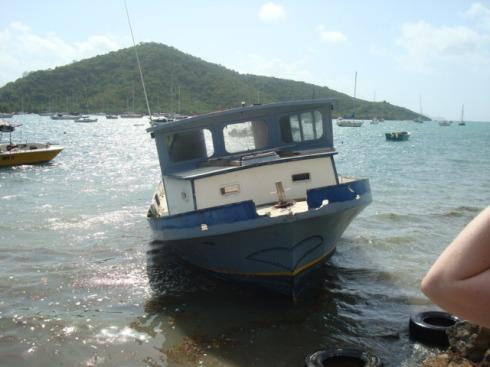 coral bay deserted boat