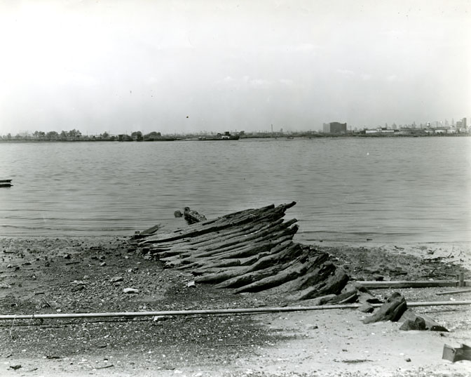 The remains of the HMS Augusta in the late 1930s.