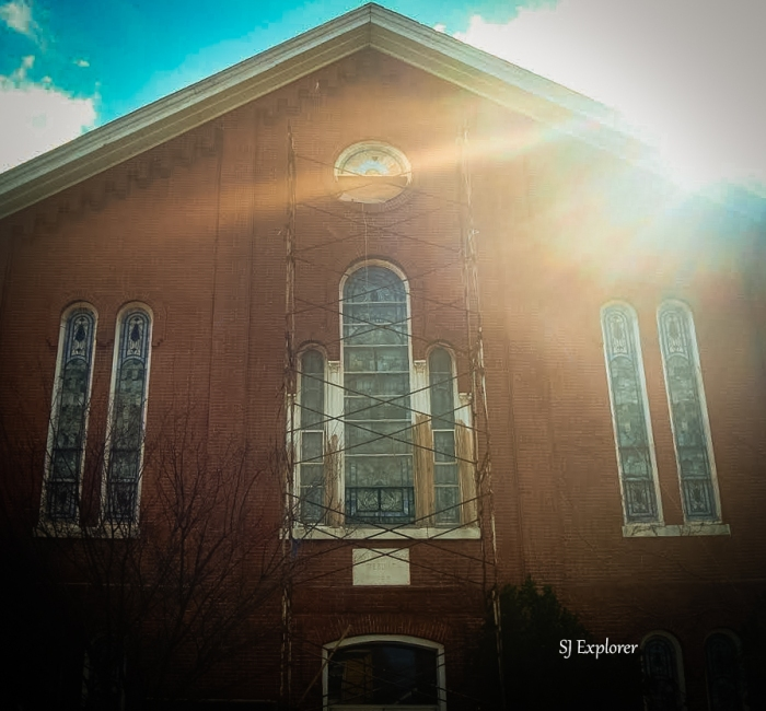 Church undergoing repair.